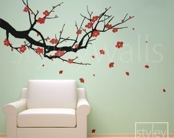Vinyl wall decals cherry blossom wall decal sakura tree for Cherry tree wall mural