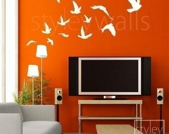 Birds Wall Decal, Flying Birds Set of 12 Vinyl Wall Decal, Flock of Birds Decal, Office Home Art Decor, Birds Room Decor Wall Decal Stickers