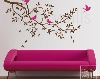 Branch Wall Decal, Branch and Birds Wall Decal GIFT BIRDS, Branch Wall Sticker Decor for Home Living Room Bed Room, Tree Wall Decal