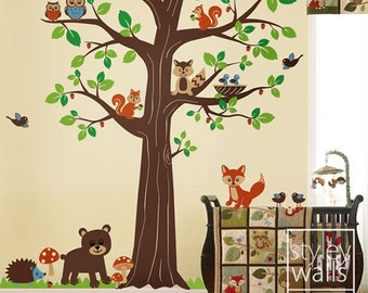 Woodland Animals Wall decal, Woodland Wall Decal,Forest Animals Huge Tree Wall Decal, Nursery Children Baby Room Wall Decal Sticker