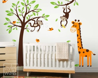 Monkey Wall Decal Etsy - Kids wall decals jungle