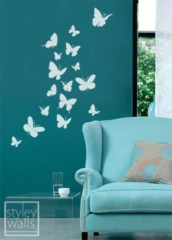 How To Paint A Wall Design At Home : Butterflies set of vinyl wall decal