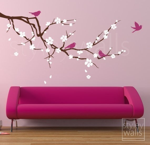 Blossoming Almond Branch - Three Colors - GIFT BIRDS - Vinyl Wall Decal