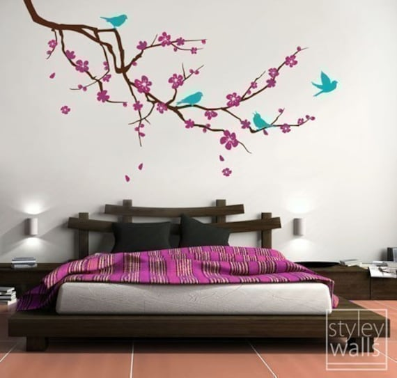 Wall Art Decals Cherry Blossom : Cherry blossom branch and birds wall decal extra by
