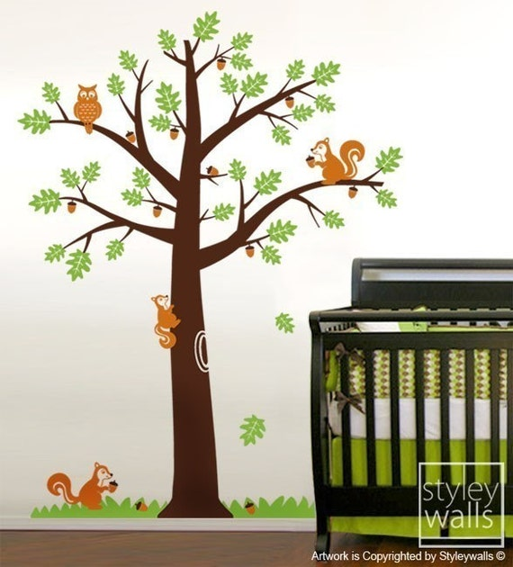 Forest Animals Tree Wall Decal, Squirrels Owls Oak Tree Wall Decal, Nursery Kids Vinyl Wall Decal, Woodland Animals Tree Wall Decal Sticker