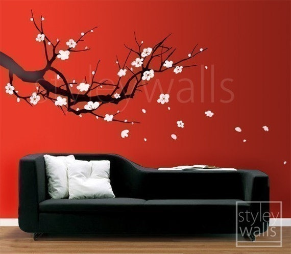 Wall decal cherry blossom wall decals vinyl wall by for Cherry blossom tree mural