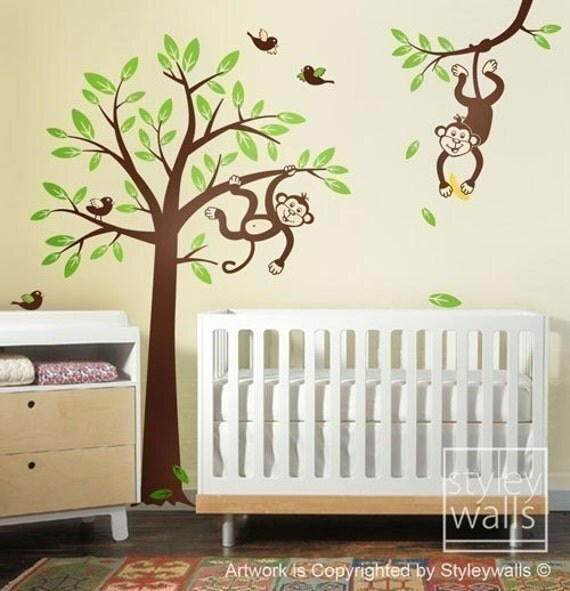 Monkey Tree Wall Decal  2 Monkeys Swinging From Branch And Tree With Birds Wall  Decal   Nursery Kids Vinyl Wall Decal Baby Room Wall Sticker Part 11