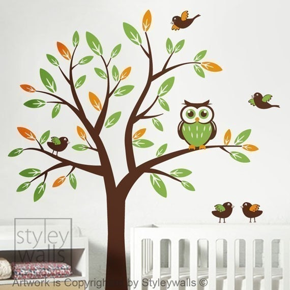 Owl tree wall decal tree with owls and birds wall by for Bird and owl tree wall mural set
