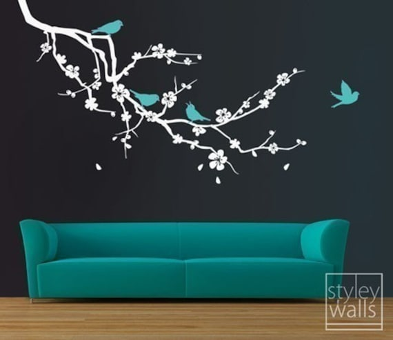 Cherry Blossom Branch and Birds Wall Decal, Cherry Blossom Branch Wall Sticker, Cherry Branch and Birds Wall Decal for Home DecorEXTRA LARGE