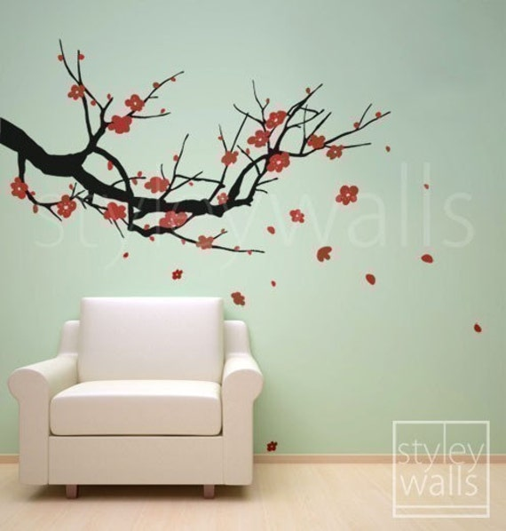 Wall Decals Cherry Blossom Wall Decal Sakura Tree   Nursery Wall Decal .