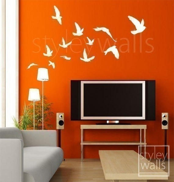 Birds Wall Decal, Flying Birds Set of 12 Vinyl Wall Decal, Flock of Birds Decal, Office Home Art Decor, Birds Room Decor Wall Decal Stickers