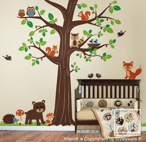 Woodland Animals Wall Decal Woodland Wall DecalForest - Vinyl wall decals animals