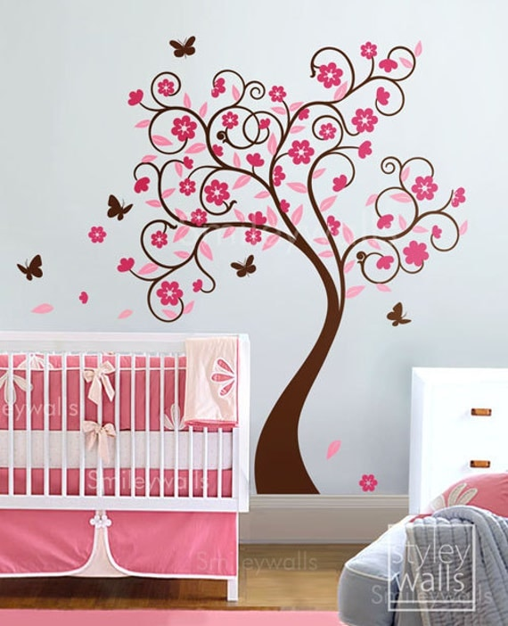 Great Cherry Blossom Tree Wall Decal, Flower Tree Wall Decal, Curly Flower Tree  Butterflies For Kids Children Room And Nursery Wall Decal Sticker Part 30