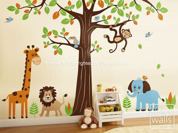 Jungle Wall Decal Safari Animals Wall Decal HUGE Set Tree Wall Decal - Lion Elephant Monkey Giraffe Nursery Kids Decal Sticker Baby Room Art