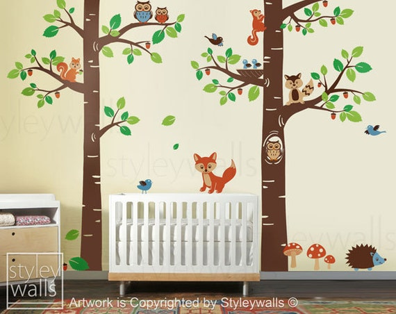 Forest Animals Wall Decal Children Wall Decal Tree By