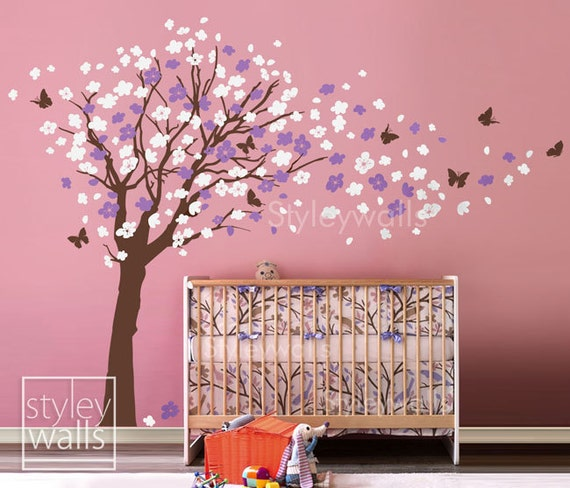 Flower Tree Wall Decal Tree and Butterflies in the Wind Wall Decal- EXTRA LARGE SIZE Cherry Blossom Decal Nursery Kids Children Wall Decal