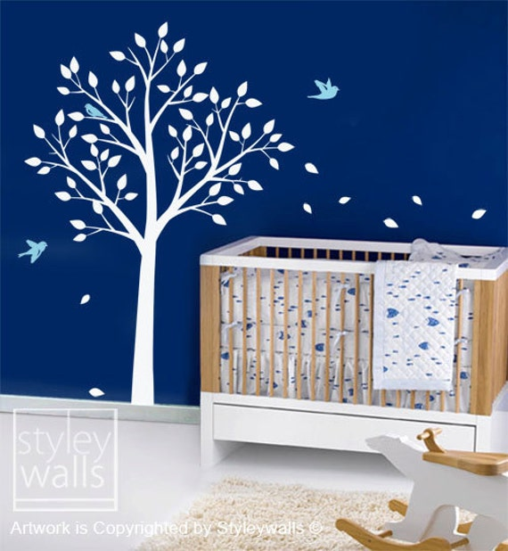 Tree and Birds Wall Decal, TODAY ON SALE, Tree Wall Decal for Nursery Kids Room Decor, Tree with Birds Wall Sticker, Tree Wall Sticker