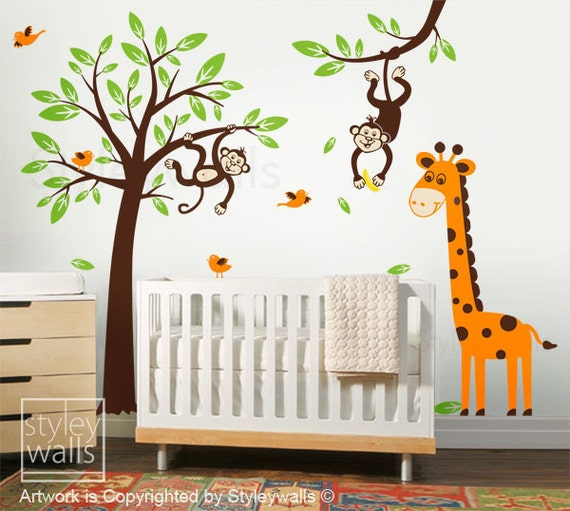 Tree Wall Decal Wall Sticker Monkeys and Giraffe Tree Branch and Birds Wall Decal Set - Nursery Children Kids Wall Decal Playroom Baby Decal