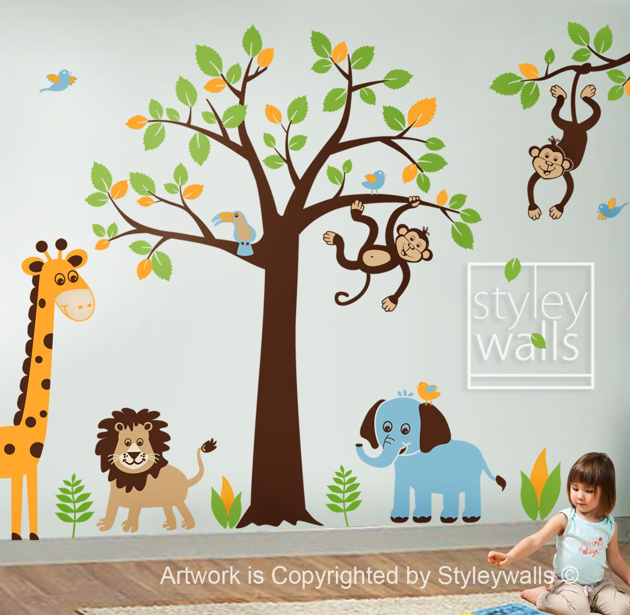 children wall decal safari tree decal jungle by styleywalls. Black Bedroom Furniture Sets. Home Design Ideas