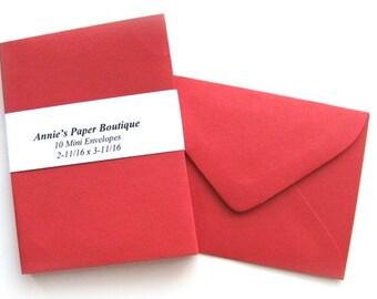 10 Mini Envelopes - Red