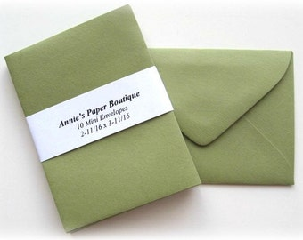 10 Mini Envelopes - Olive