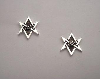 Sterling Silver Unicursal Hexagram Stud Earrings