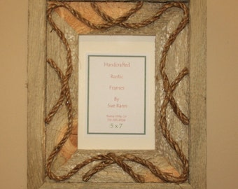Picture Frame - 5 x 7 - Rustic Wood - Western - Rope - Recycled