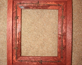 Picture Frame - 8 X 10 - Rustic Wood - Barbed Wire - Western - Recycled - Sedona Red