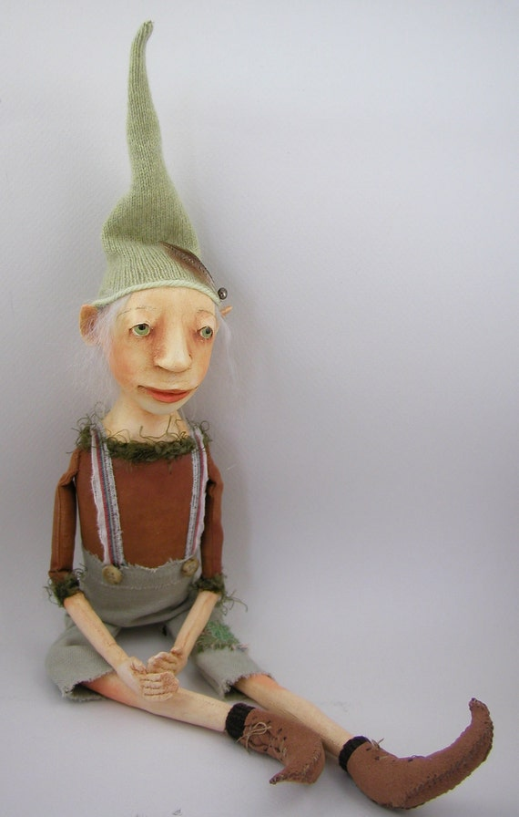RESERVED for Nicki Contemporary Folk Art doll cloth and clay Elf ooak