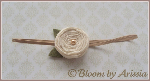Simply chic collection .  ivory rosette and felt leaves skinny headband