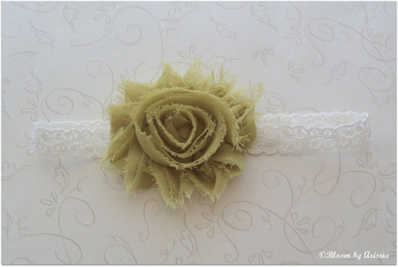 Shabby chic collection .  lime frilly bloom