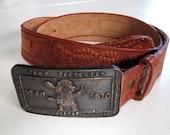 Daniel Webster Camp Carpenter Anniversary 1970 Tooled Leather Belt xs