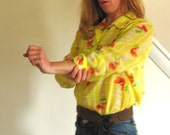 Sunshine Yellow California Poppy 1970s Vintage Button Down Shirt M L