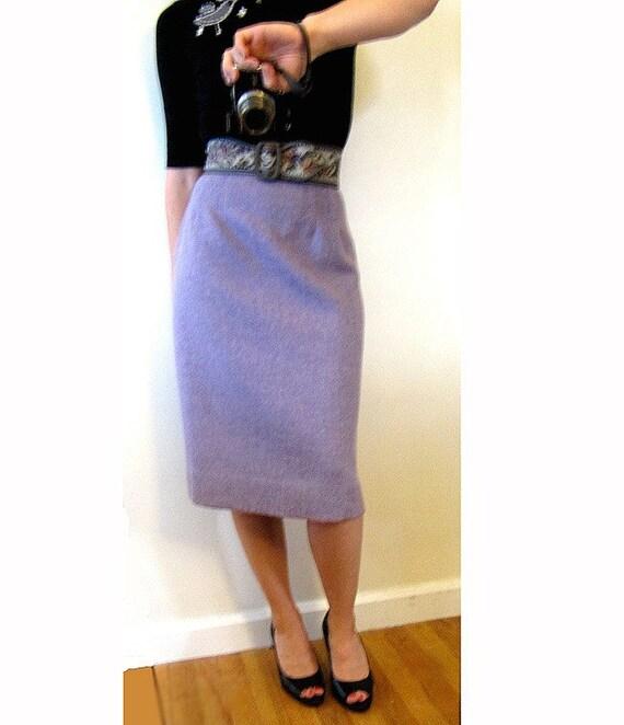 lilac purple herringbone wool pencil skirt s m