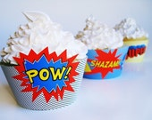 Superhero Cupcake Wrapper PDF Template with 3 different patterns