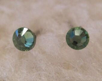 """Niobium Post Earrings - """"Peridot Crystals 3.9mm"""" (Hypoallergenic Earrings for Sensitive Ears // Nickel Free Stud Earrings)"""