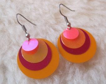 Surgical Steel Earrings - Pink and Tangerine / Orange - Hypoallergenic Earrings for Sensitive Ears