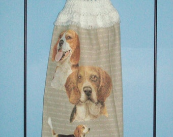 Beagle crocheted kitchen dish towel