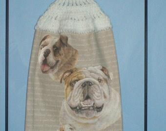 Bulldog Crocheted Kitchen Dish Towel