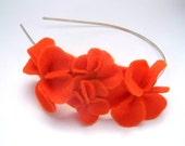 Headband with orange felt flowers