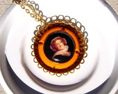 Champagne Bottle Top Necklace in Veuve Yellow Label