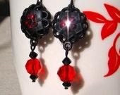 Dahlia Earrings in Ruby Red
