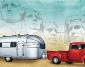 8x10 illustration print: Road Trip (Airstream trailer and red vintage pickup truck at Mt. Rushmore)
