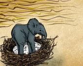 11x14 illustration print: Elephant's Nest (matted)