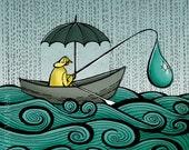 11x14 illustration print: Fishing in Oregon (fisherman with umbrella in boat on the ocean in the rain)