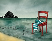 8x10 illustration print: Unraveling... (red chair with striped knitting in ocean with Haystack Rock)