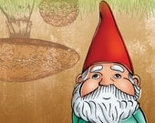 11x14 illustration print: Mr. Kabouter (gnome in red hat and white bear with mushrooms)