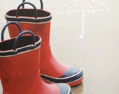8x10 photography print: child's rainboots on beach with umbrella drawing (includes mat) mixed media