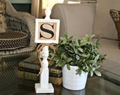 White Monogrammed Stand