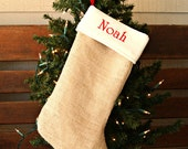 Boy's Monogrammed Burlap Christmas Stocking